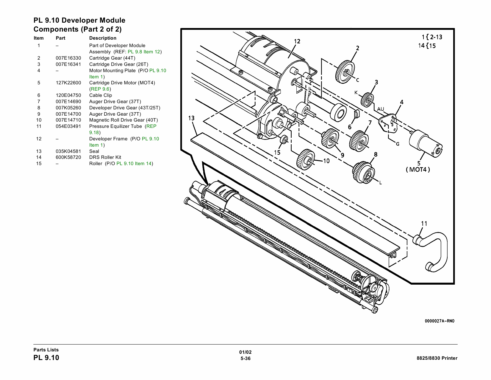 Xerox Wideformat Parts List And Service Manual